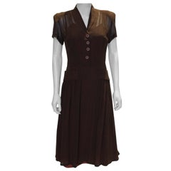 Vintage Brown 1940s Dress
