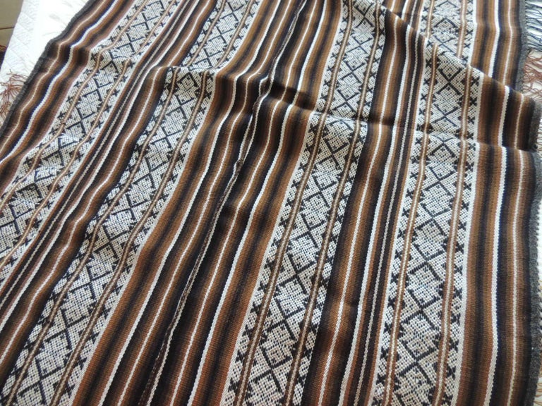 Tribal Vintage Brown and Black Stripe Woven Throw with Fringes For Sale