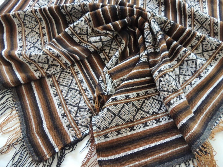 Bolivian Vintage Brown and Black Stripe Woven Throw with Fringes For Sale