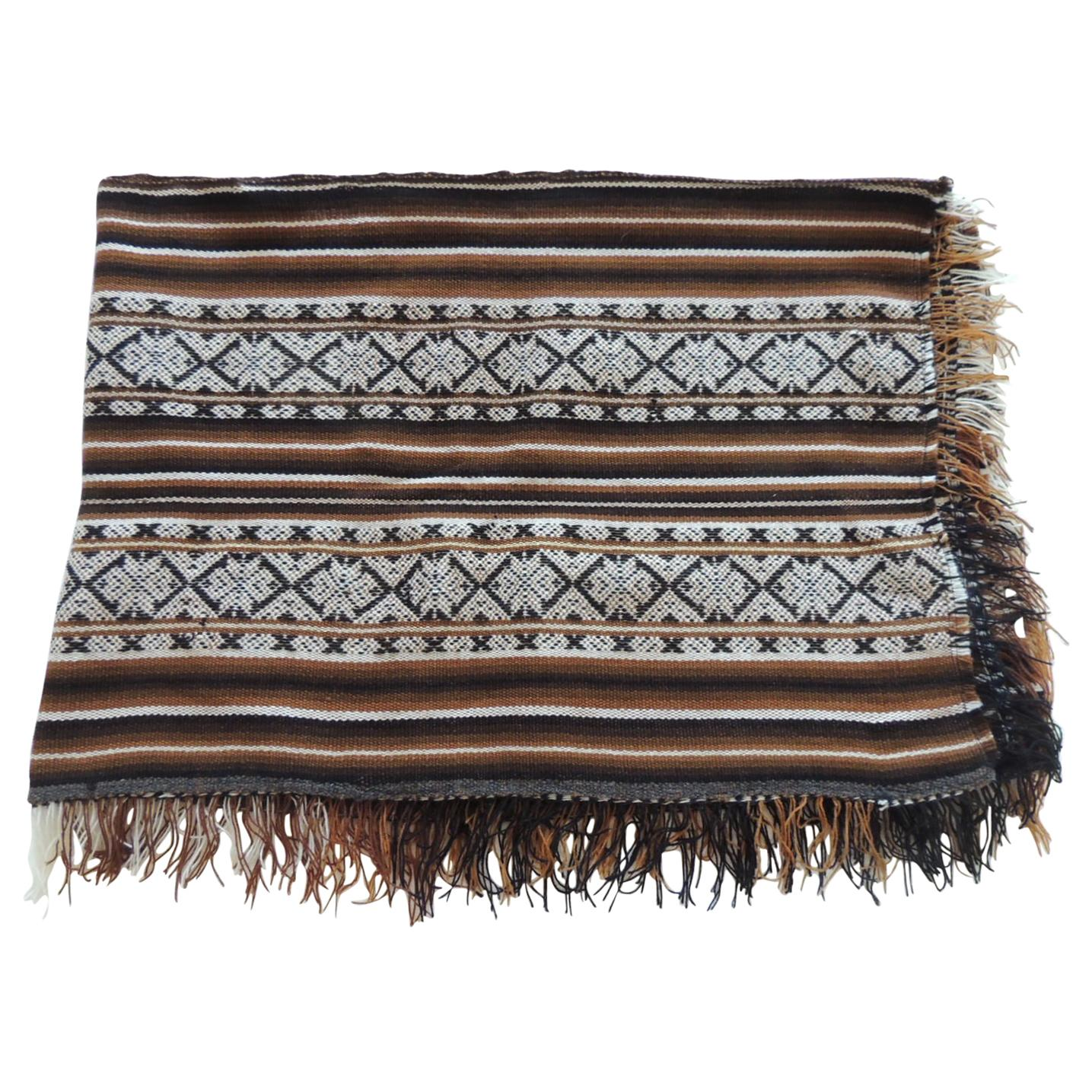 Vintage Brown and Black Stripe Woven Throw with Fringes