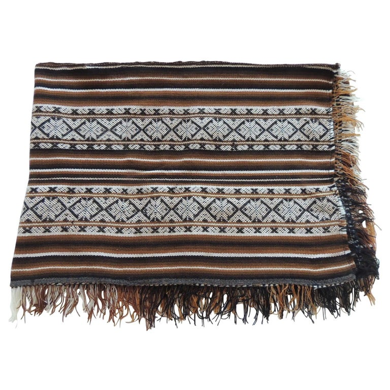 Vintage Brown and Black Stripe Woven Throw with Fringes For Sale