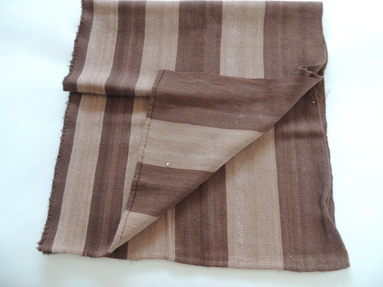 Vintage brown and camel woven textile. Was a throw and was cut up, ideal for pillows or upholstery. Size: 24