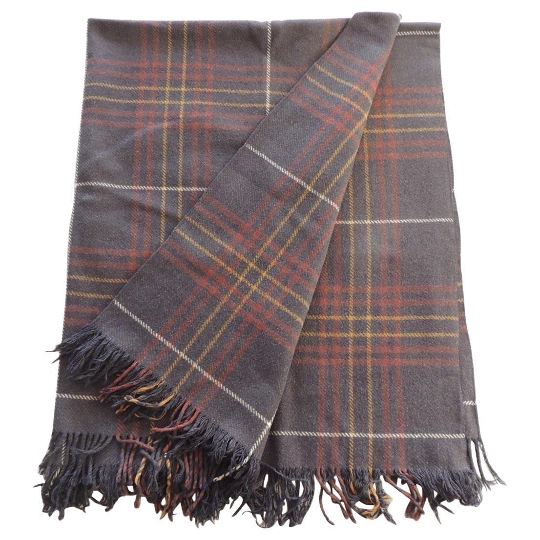 Vintage Brown and Red Plaid Wool Throw with Fringes