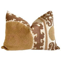 Vintage Brown and Tan Embroidered Suzani Pillow with Down Insert