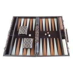 Vintage Brown and Tan Meandering Border Pattern Backgammon Game