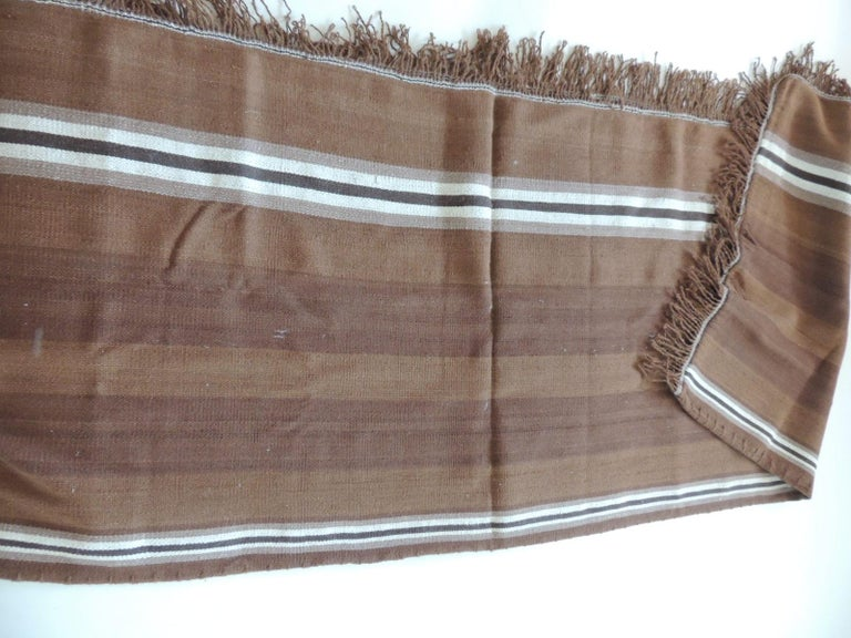 Modern Vintage Brown and Tan Stripe Woven Throw with Fringes For Sale