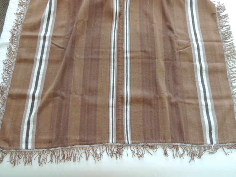 Argentine Vintage Brown and Tan Stripe Woven Throw with Fringes For Sale