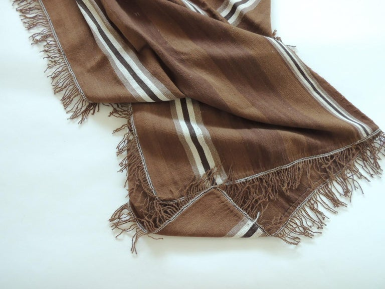 Hand-Crafted Vintage Brown and Tan Stripe Woven Throw with Fringes For Sale