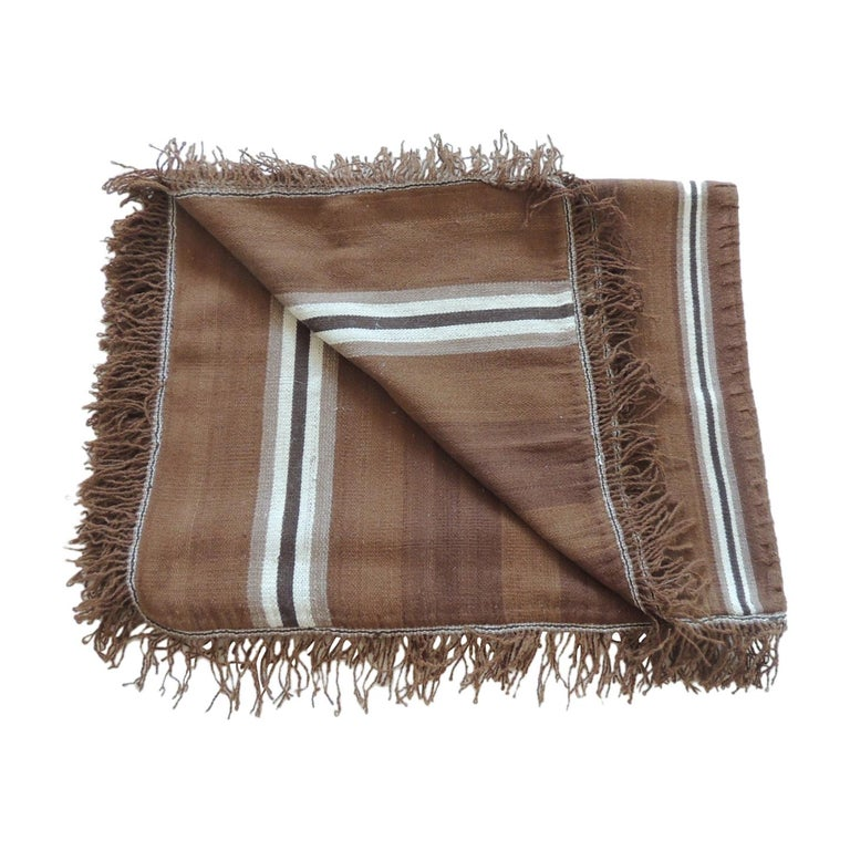 Vintage Brown and Tan Stripe Woven Throw with Fringes For Sale