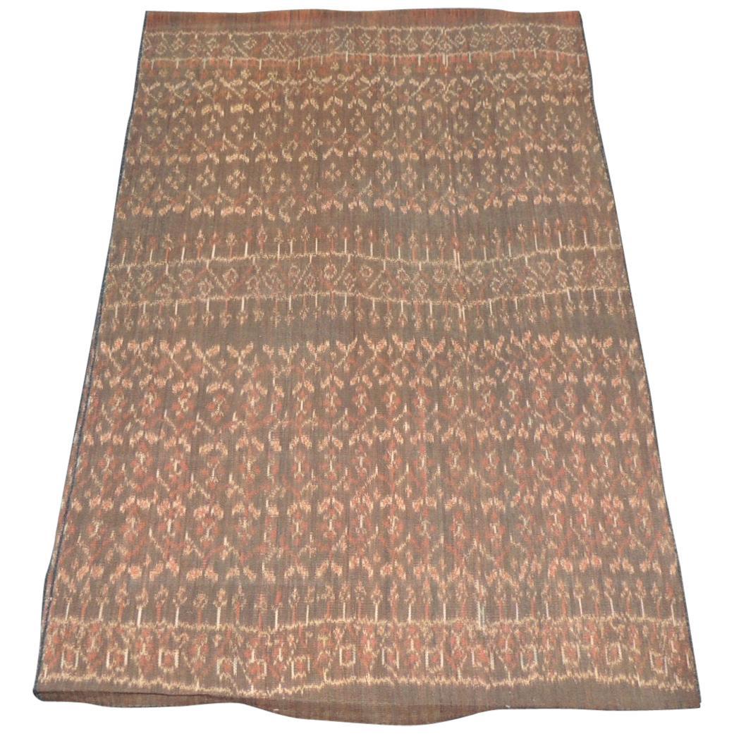 Vintage Brown and Tan Woven Ikat Textile Panel