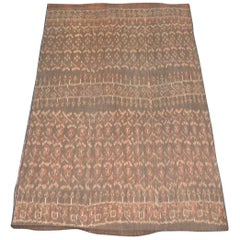 Vintage Brown and Tan Woven Ikat Textile Panel