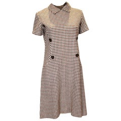 Vintage Brown and White Dress by Nancy Green