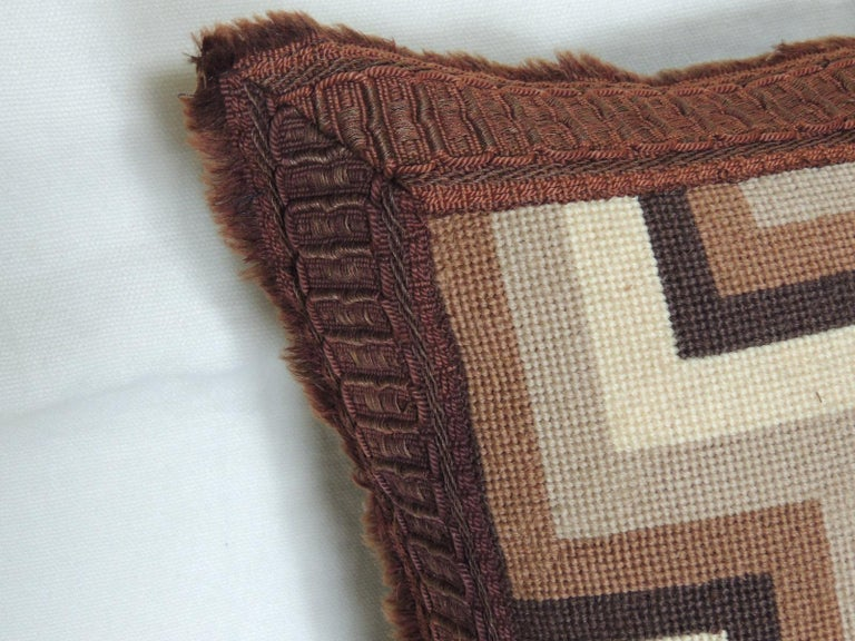 Vintage brown and white woven tapestry decorative pillow. Graphic Mid-Century Modern style with brown woven trim. Decorative pillow handcrafted and designed in the USA. Closure by stitch (no zipper closure) with custom made pillow insert. Size: 18