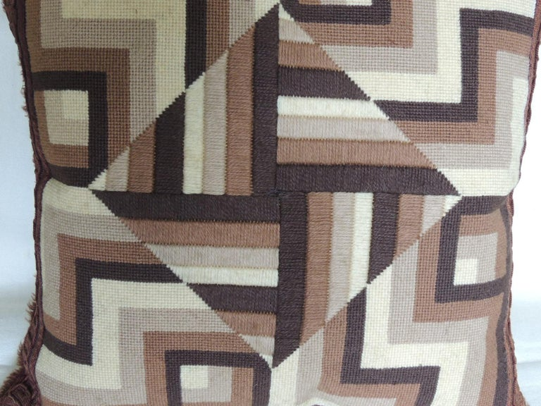 Mid-Century Modern Vintage Brown and White Woven Tapestry Decorative Pillow For Sale