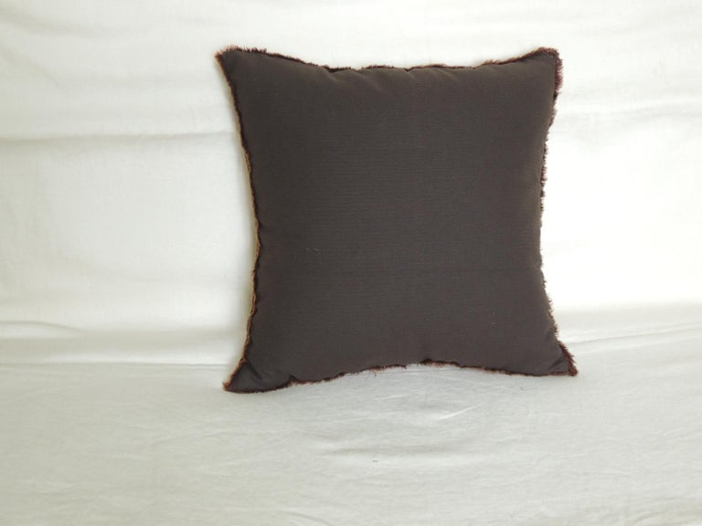 French Vintage Brown and White Woven Tapestry Decorative Pillow For Sale