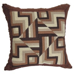 Vintage Brown and White Woven Tapestry Decorative Pillow