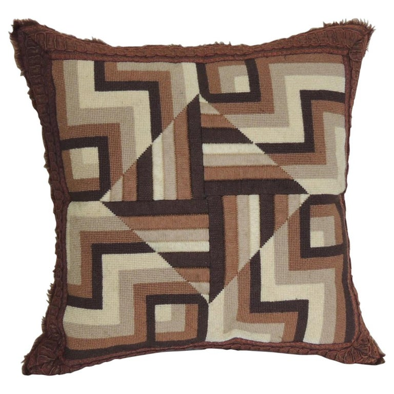 Vintage Brown and White Woven Tapestry Decorative Pillow For Sale
