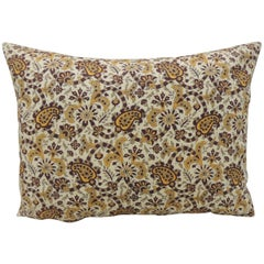Vintage Brown and Yellow Paisley Decorative Bolster Pillow