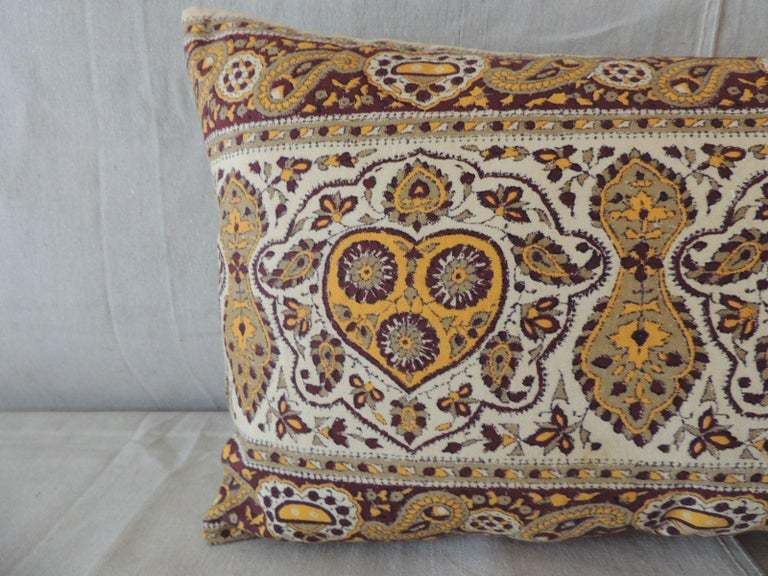 Moorish Vintage Brown and Yellow Paisley Long Bolster Decorative Pillow For Sale