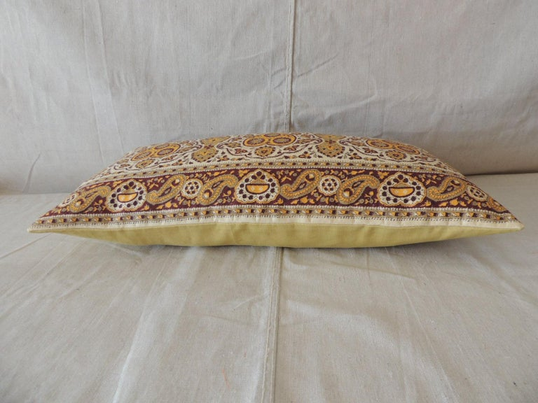 Indian Vintage Brown and Yellow Paisley Long Bolster Decorative Pillow For Sale