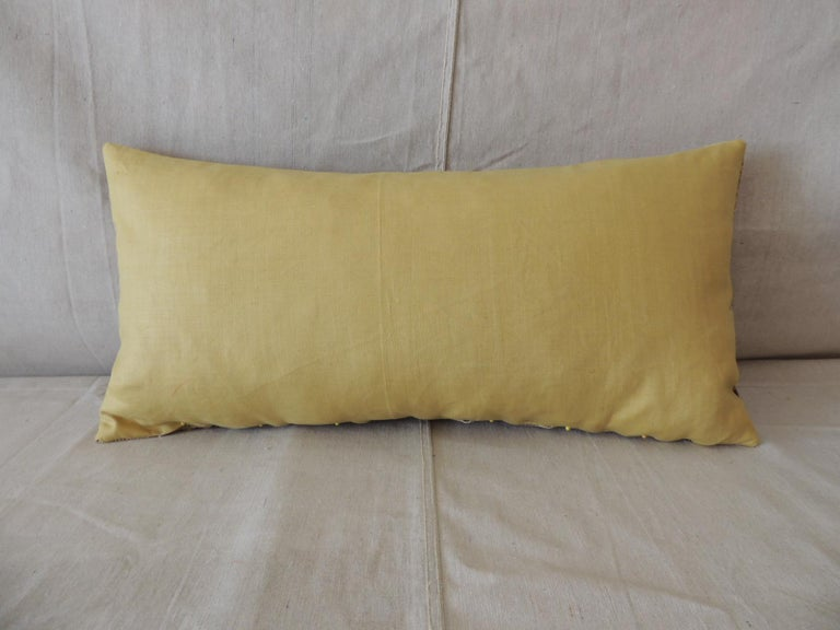 Hand-Crafted Vintage Brown and Yellow Paisley Long Bolster Decorative Pillow For Sale