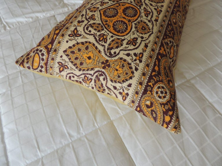 Mid-20th Century Vintage Brown and Yellow Paisley Long Bolster Decorative Pillow For Sale