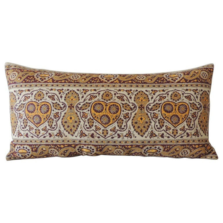 Vintage Brown and Yellow Paisley Long Bolster Decorative Pillow For Sale