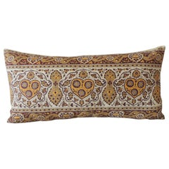 Vintage Brown and Yellow Paisley Long Bolster Decorative Pillow