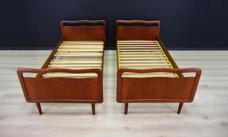 Vintage Brown Beds Danish Design Teak Classic, 1960s 6