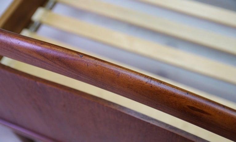 Veneer Vintage Brown Beds Danish Design Teak Classic, 1960s