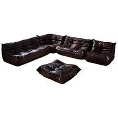 Vintage Brown Dubai Leather Togo Sofa Set by Michel Ducaroy for Ligne Roset