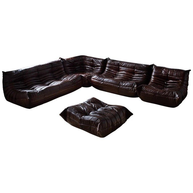 Magnificent Vintage Brown Dubai Leather Togo Sofa Set By Michel Ducaroy For Ligne Roset Bralicious Painted Fabric Chair Ideas Braliciousco