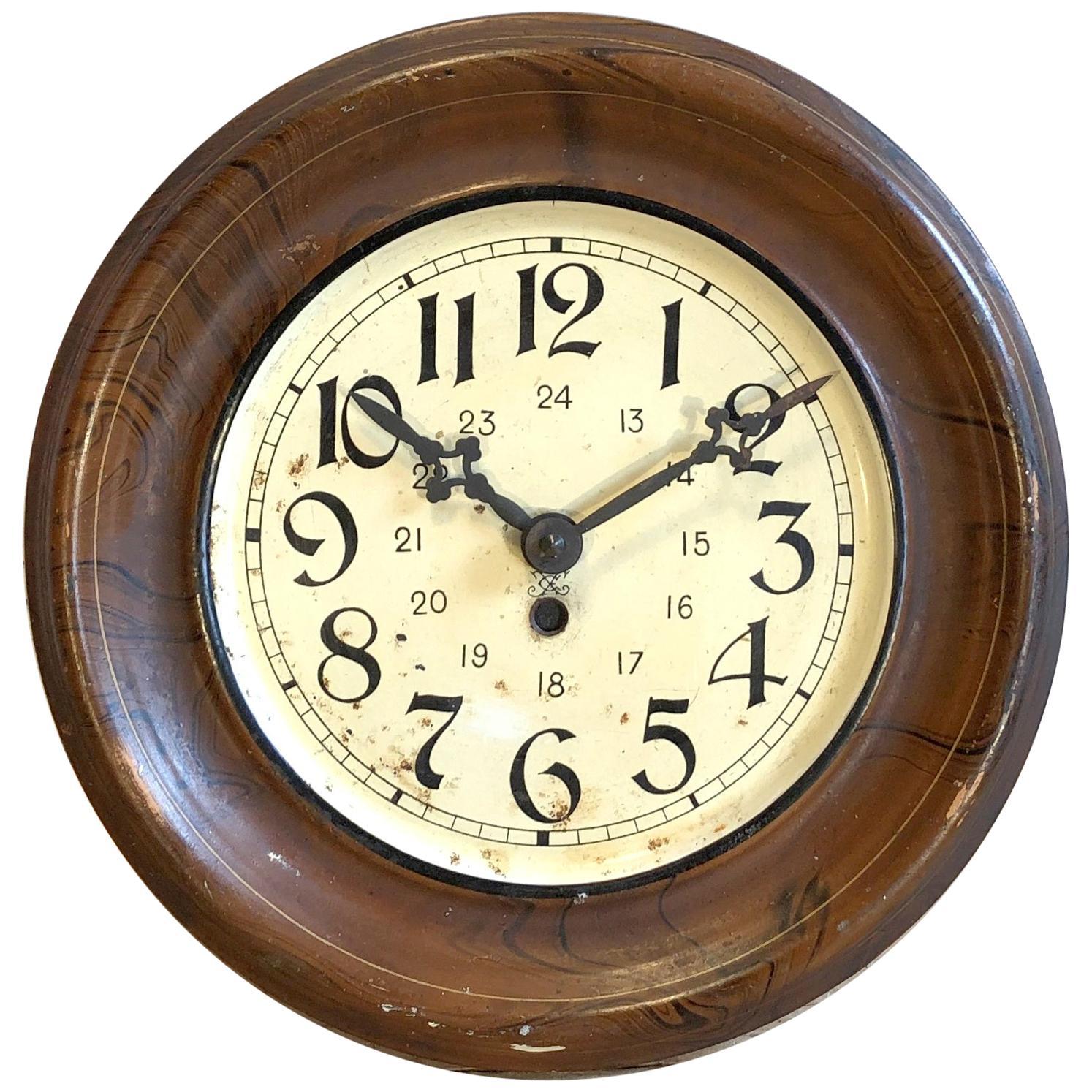 Vintage Brown Iron Clock, 1930s