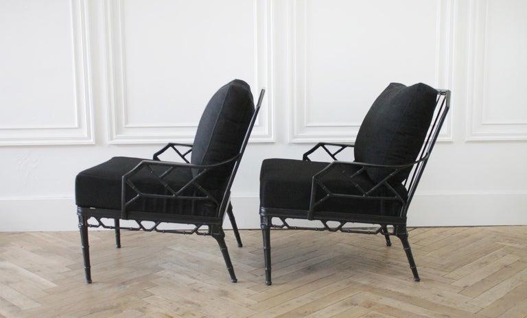 Vintage brown Jordan Calcutta pair of lounge chairs with Black Sunbrella cushions. Measures: 28