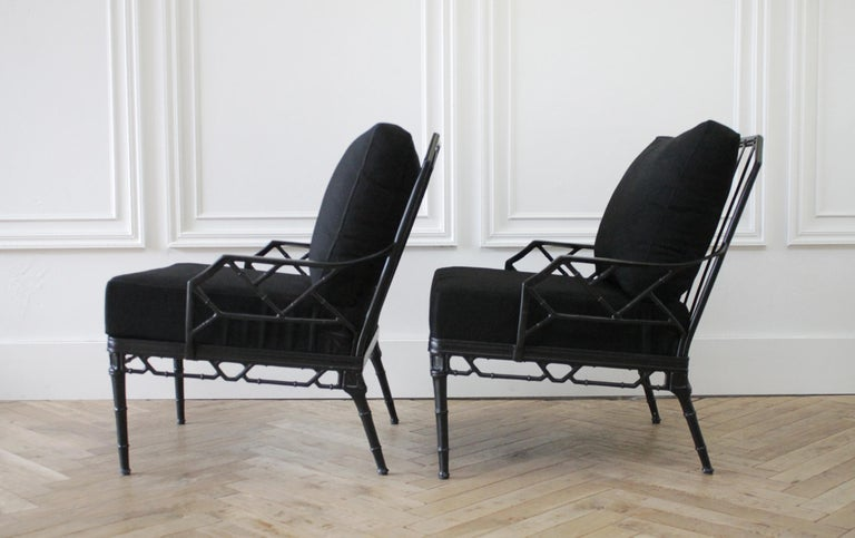 Chippendale Vintage Brown Jordan Calcutta Pair of Lounge Chairs For Sale