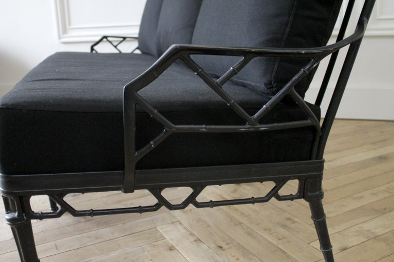 Vintage Brown Jordan Calcutta Sofa with Black Sunbrella Cushions For Sale 4