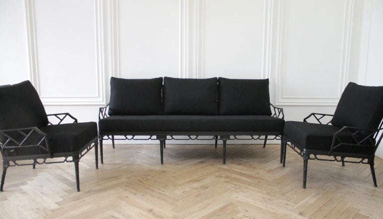 Vintage Brown Jordan Calcutta Sofa with Black Sunbrella Cushions For Sale 6