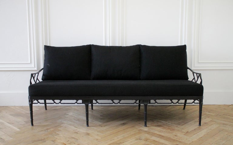 Vintage brown Jordan Calcutta sofa with black Sunbrella cushions We have several pieces of this collection, please view our store for more. Measures: 76.5