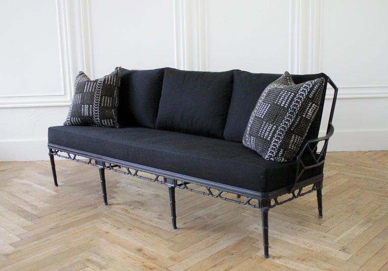American Vintage Brown Jordan Calcutta Sofa with Black Sunbrella Cushions For Sale