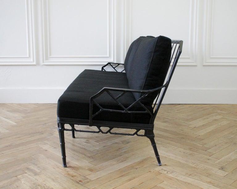 Vintage Brown Jordan Calcutta Sofa with Black Sunbrella Cushions In Good Condition For Sale In Brea, CA
