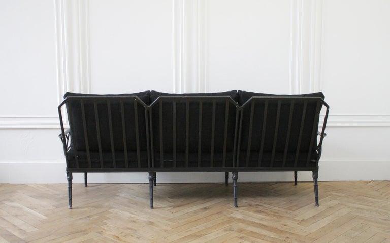20th Century Vintage Brown Jordan Calcutta Sofa with Black Sunbrella Cushions For Sale