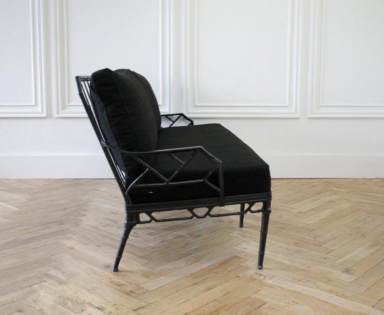 Aluminum Vintage Brown Jordan Calcutta Sofa with Black Sunbrella Cushions For Sale