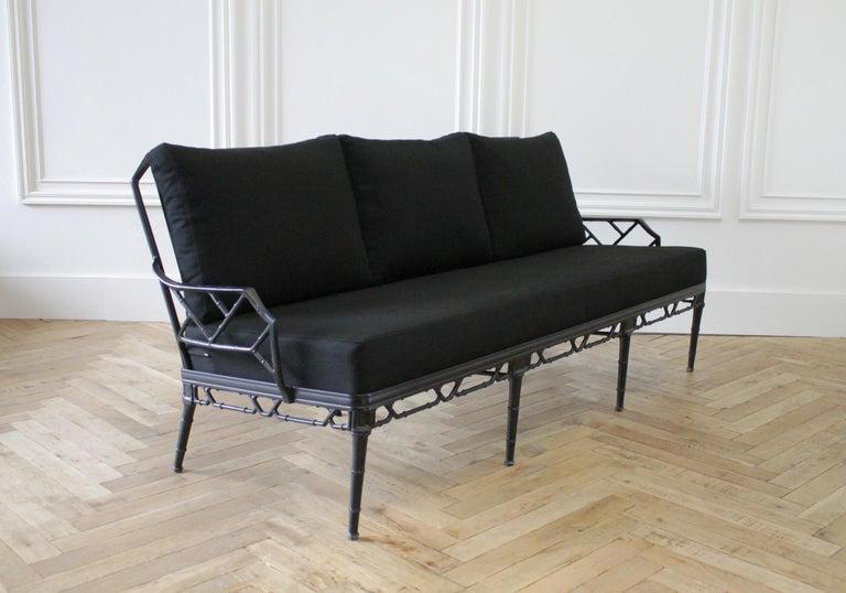 Vintage Brown Jordan Calcutta Sofa with Black Sunbrella Cushions For Sale 1