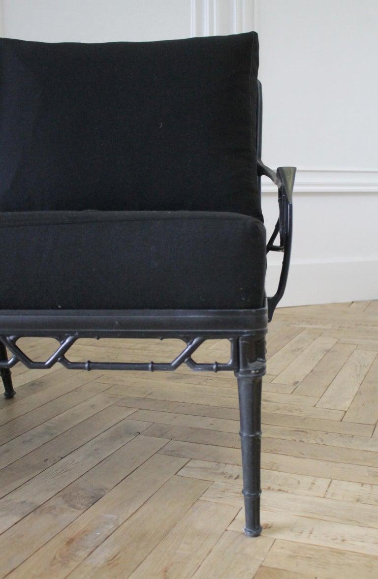 Vintage Brown Jordan Calcutta Sofa with Black Sunbrella Cushions For Sale 2