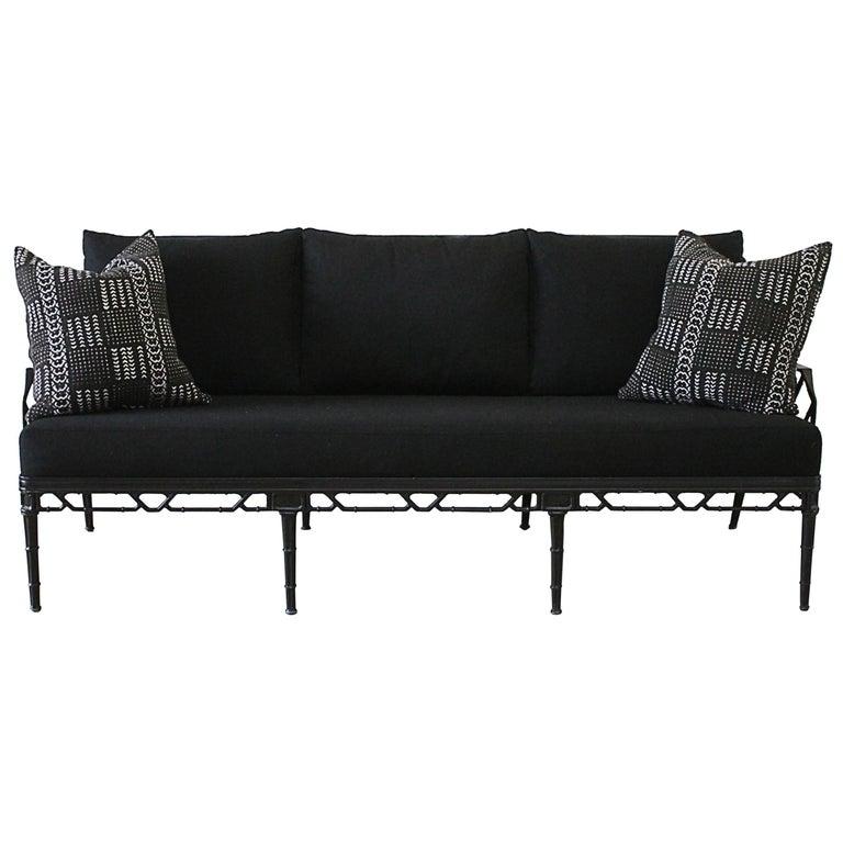 Vintage Brown Jordan Calcutta Sofa with Black Sunbrella Cushions For Sale