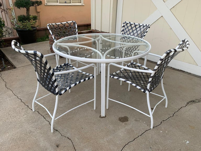 Mid-Century Modern Vintage Brown Jordan Patio Set from the Tamiami Collection 1 Table and 4 Chairs For Sale