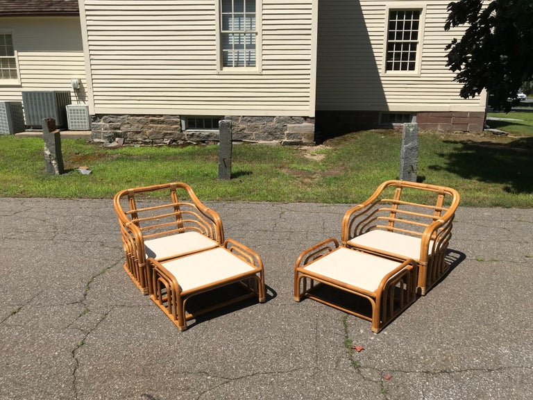 Vintage Brown Jordan Rattan Lounge Chairs with Ottomans In Excellent Condition In Old Saybrook, CT