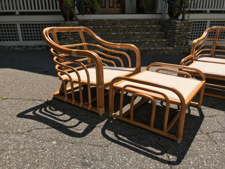 Vintage Brown Jordan Rattan Lounge Chairs with Ottomans 2