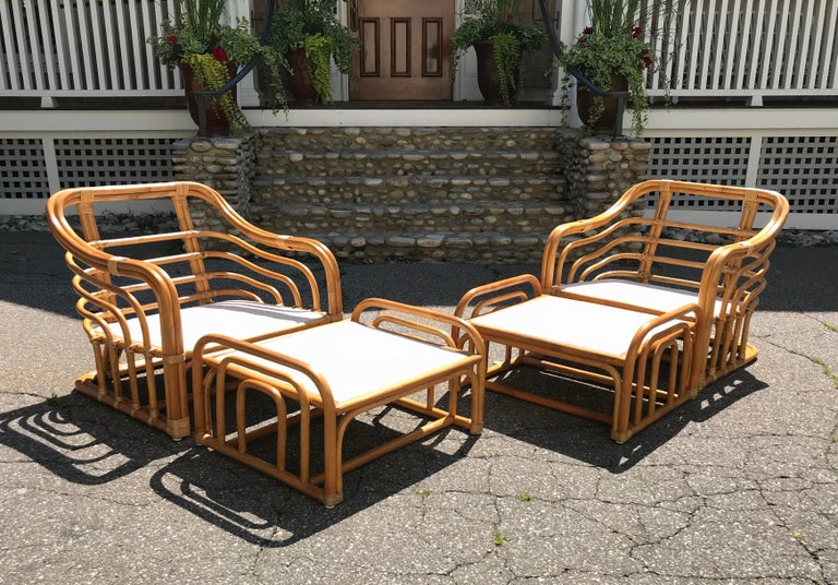 Vintage Brown Jordan Rattan Lounge Chairs with Ottomans 3