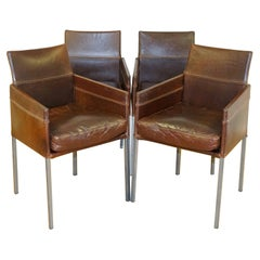 Vintage Brown Leather and Steel Texas Dining Chair by Karl Friedrich Forster